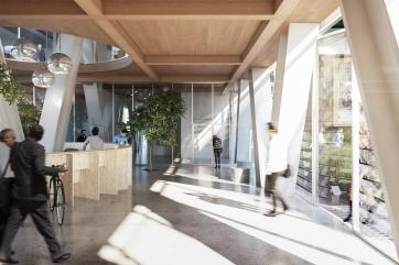 DATA. Hall d'entrée. Concours pour la réalisation d'un immeuble de bureaux et logements, 13e arrondissement, Paris.