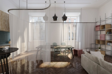 Space oddity pour 35W2. Concours pour la réalisation d'un espace habitable qui s'adapte à l'évolution des besoins combiné à une attention particulière aux différentes essences de bois, Milan.